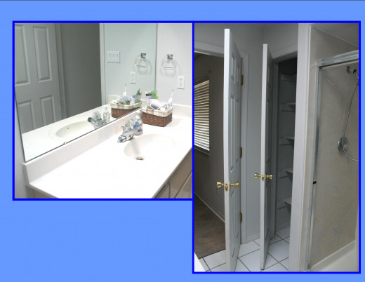 Master bath with generous closets.  Walk in shower.  Skylight.