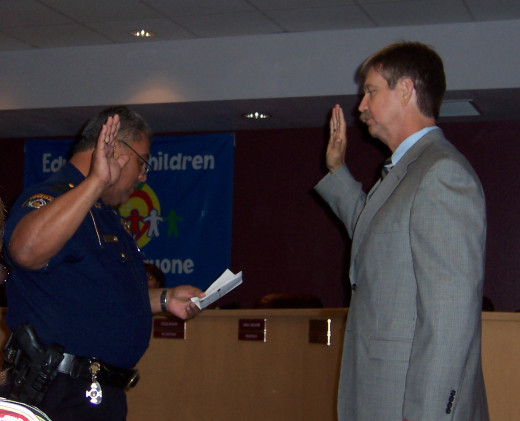 2007- Rick Quebe Taking the oath of office.