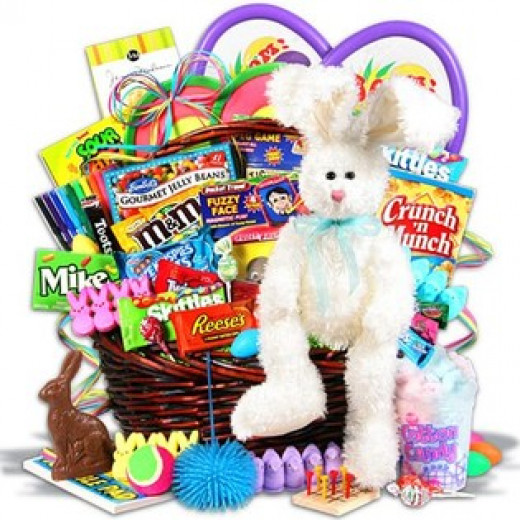 Easter bunny basket with plastic eggs plus lots of candy and chocolates