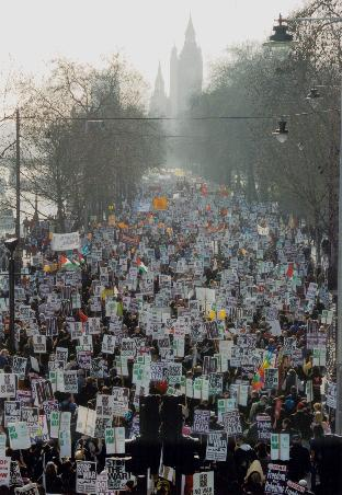 Young people took to the streets of London on 15 February 2003 to protest against the Labour-lead Iraq War.