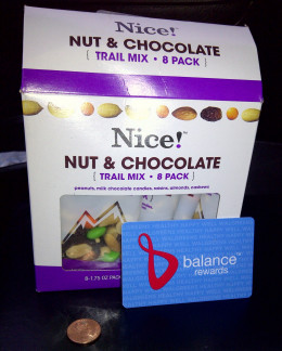 Walgreens Balance Rewards card and Nice! brand trail mix