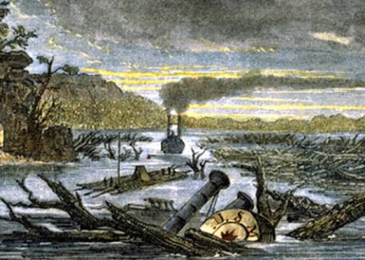 A depiction of the Mississipi River after the New Madrid earthquakes