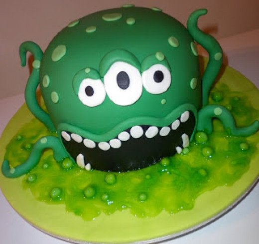 Monster themed chocolate cake covered with fondant