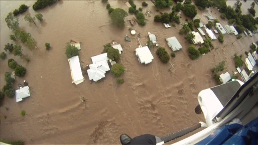 Rescue 500 helmet cam photo of the flood in Grantham.
