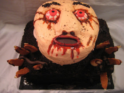 A vanilla head and chocolate dirt monster cake
