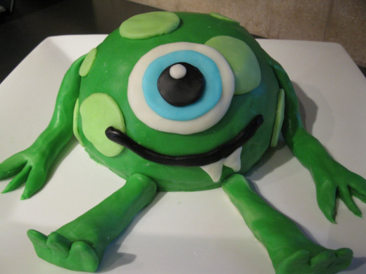 A very cute monster birthday cake