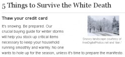 5 Things to Survive the White Death