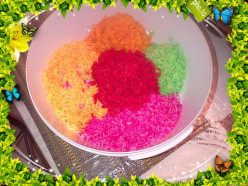How to make a Fancy Rainbow Colorful rice for special events