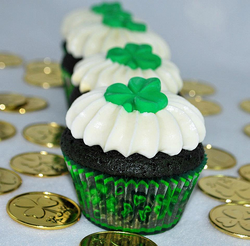 St. Patrick's Cupcakes with Pot of Gold Coins