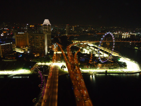 The illuminated streets of Singapore down below