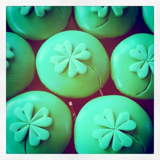 Green Velvet Shamrock Cupcakes