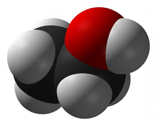 "The alcohol molecule. The red side represents the part of the molecule (an oxygen/hydrogen group) that makes it an ""alcohol"" from a chemistry point of view. The other side of the molecule is a short carbon/hydrogen chain."