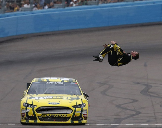 For the first time in almost 2 years, Carl Edwards goes does his traditional backflip after winning the Phoenix race
