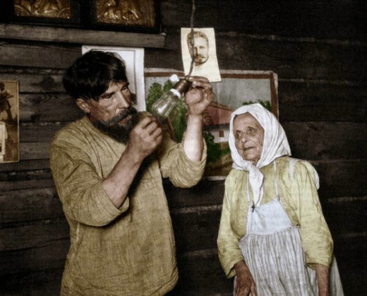 Russian peasants getting electricity for the first time in 1920.