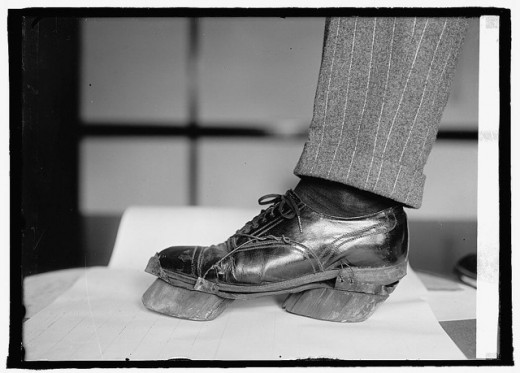 Cow shoes used by Moonshiners in the Prohibition days to disguise their footprints, 1922.