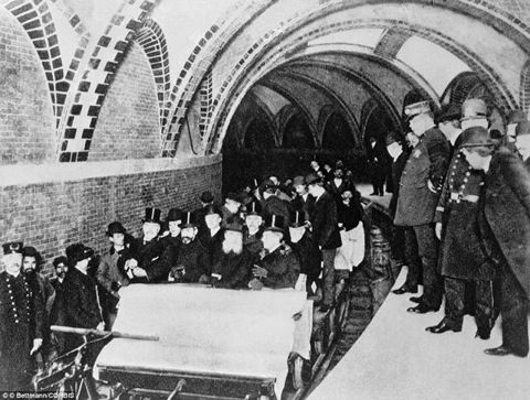 The first official riders in New York City's first subway, 1904.