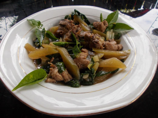 Sauteed Chayote in Chicken Stew