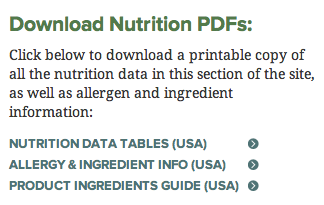"""Go to """"Menu and Nutrition"""" and then """"Nutrition Information."""""""