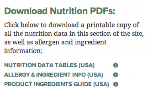 "Go to ""Menu and Nutrition"" and then ""Nutrition Information."""