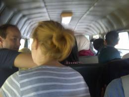 Inside the medium-sized bus.
