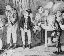 The Artful Dodger introducing Oliver Twist to Fagin.