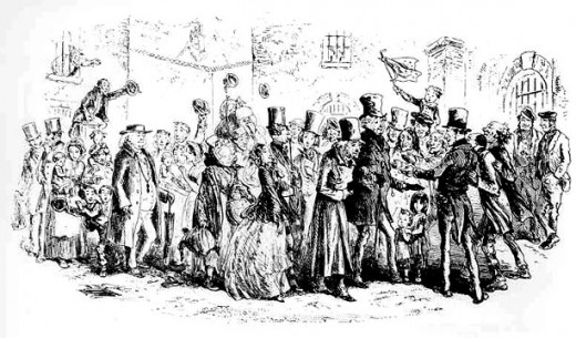 The Marshalsea Becomes an Orphan, by Phiz - 'Little Dorrit' illustration (1855)