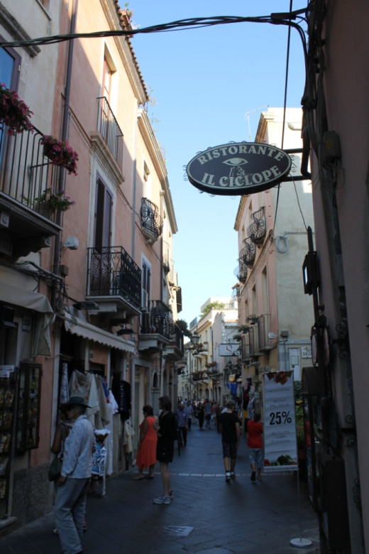 Taormina's quaint main street.