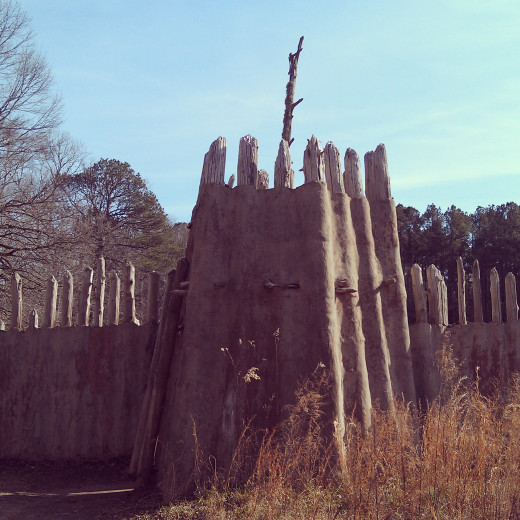Stockade gate at the Town Creek Indian Mound, Mt. Gilead, NC.