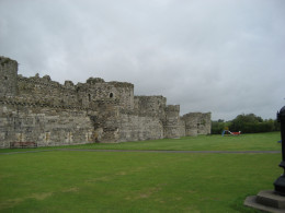 Beaumaris, showing the higher inner wall behind the lower outer one.