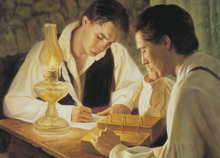 Joseph Smith and Oliver Cowdery translating the Golden Plates