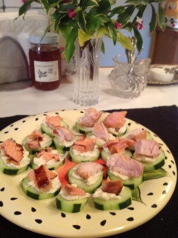 Cucumber Slices, Laughing Cow Cheese, and Smoked Salmon and Tuna Ready to Eat