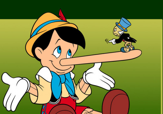 The lying Pinocchio receives a good scolding from Jiminy Cricket.