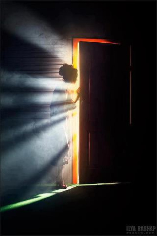 he watches her quietly disappearing behind the closing door.