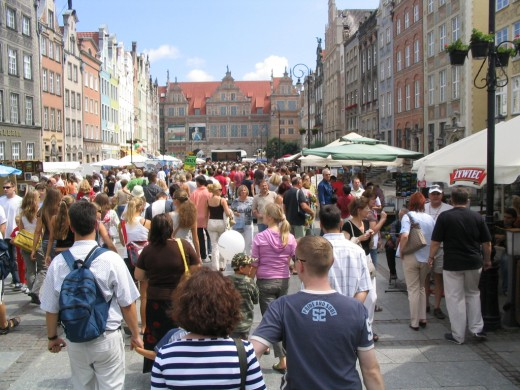 Modern Gdansk with its thriving market.