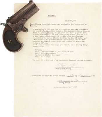 Dillinger's Double Derringer Taken From Him During Tucson Arrest