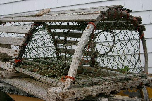 Classic wooden Maine lobster trap.