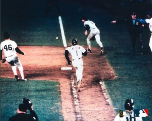 The ball gets through Bill Buckner to give the Mets the victory in Game 6 of the 1986 World Series