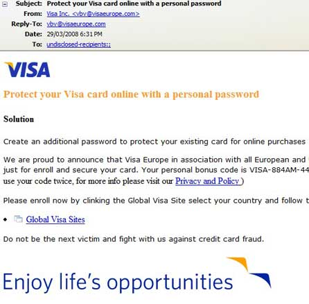 VISA Credit Card Scam Email