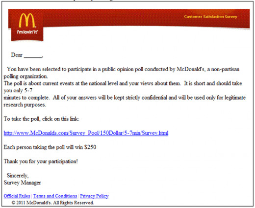 McDonald's SCAM Email