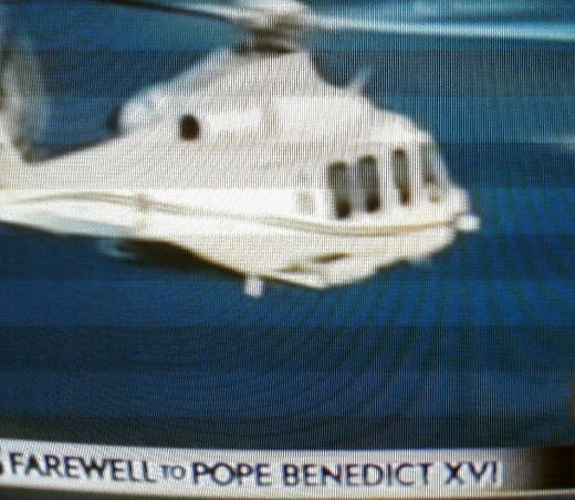 Former Pope Benedict XVI takes final helicopter ride.