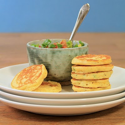 Yummy corn cakes with salsa