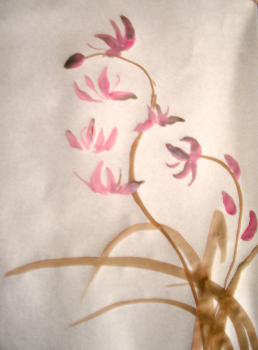 Add the Stems, Orchid Petals and Buds