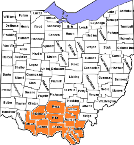 Southern Ohio is highlighted in color.