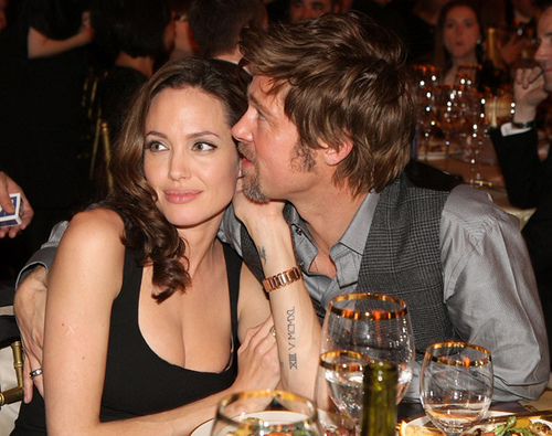 Brad Pitt and Angelina Jolie flirt it up