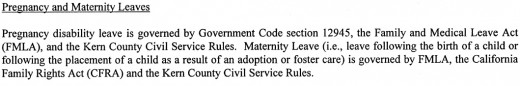A government employee contract outlining pregnancy leave.
