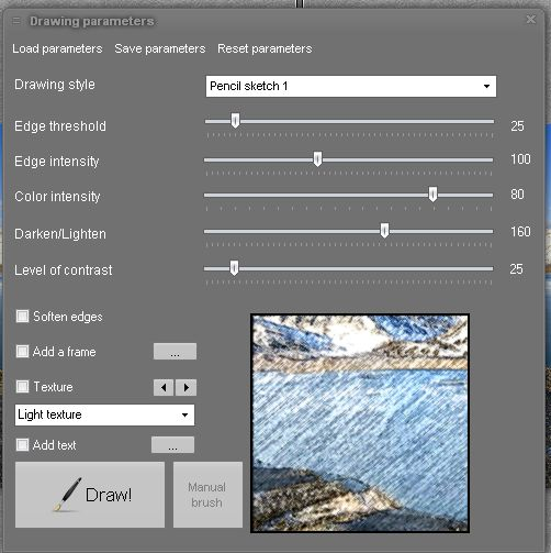 "FotoSketcher working image panel in action. This panel shows parameters selected for production of a color pencil sketch from an original photograph. When you are happy with the sketch in the frame, you ""click"" your art into the finished image panel"