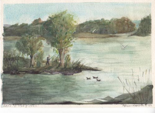 Watercolor - at Lake O' the Pines, 1989.