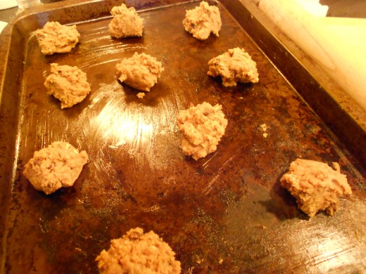 Place dropped cookies on greased cookie sheets leaving space for the cookies to expand.