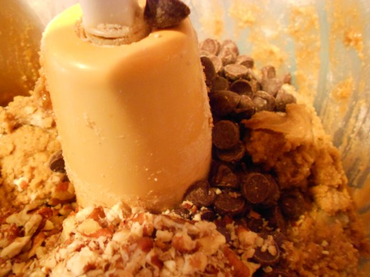 Add the chocolate chips and pecans to creamed mixture and stir to combine or pulse gently