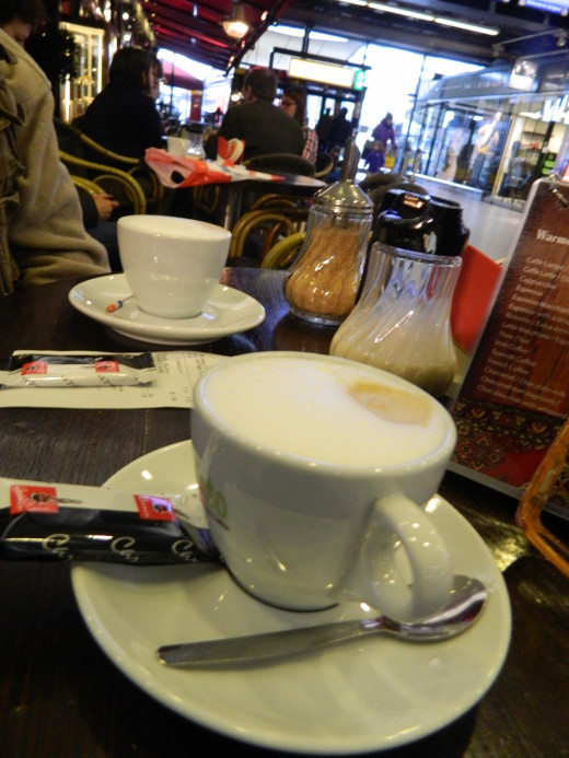 Our first coffee in Europe
